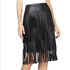BCBG Faux Leather fringe Rashell skirt.